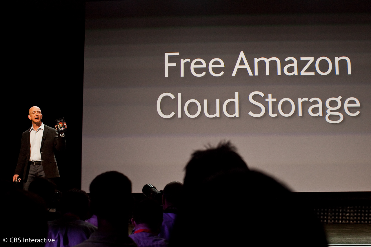 Amazon CEO Jeff Bezos pitches the Kindle Fire tablet at today's unveiling.