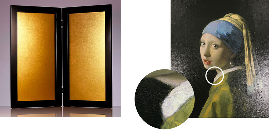 """Using multiple cameras, Canon can capture surface texture like paint strokes or glossiness. Then special printing techniques reproduce that texture. The left pair of images shows a Japanese gold screen in its original and texture-printed form. The right shows a closeup of printed texture from Vermeer's """"Girl with a Pearl Earring."""""""