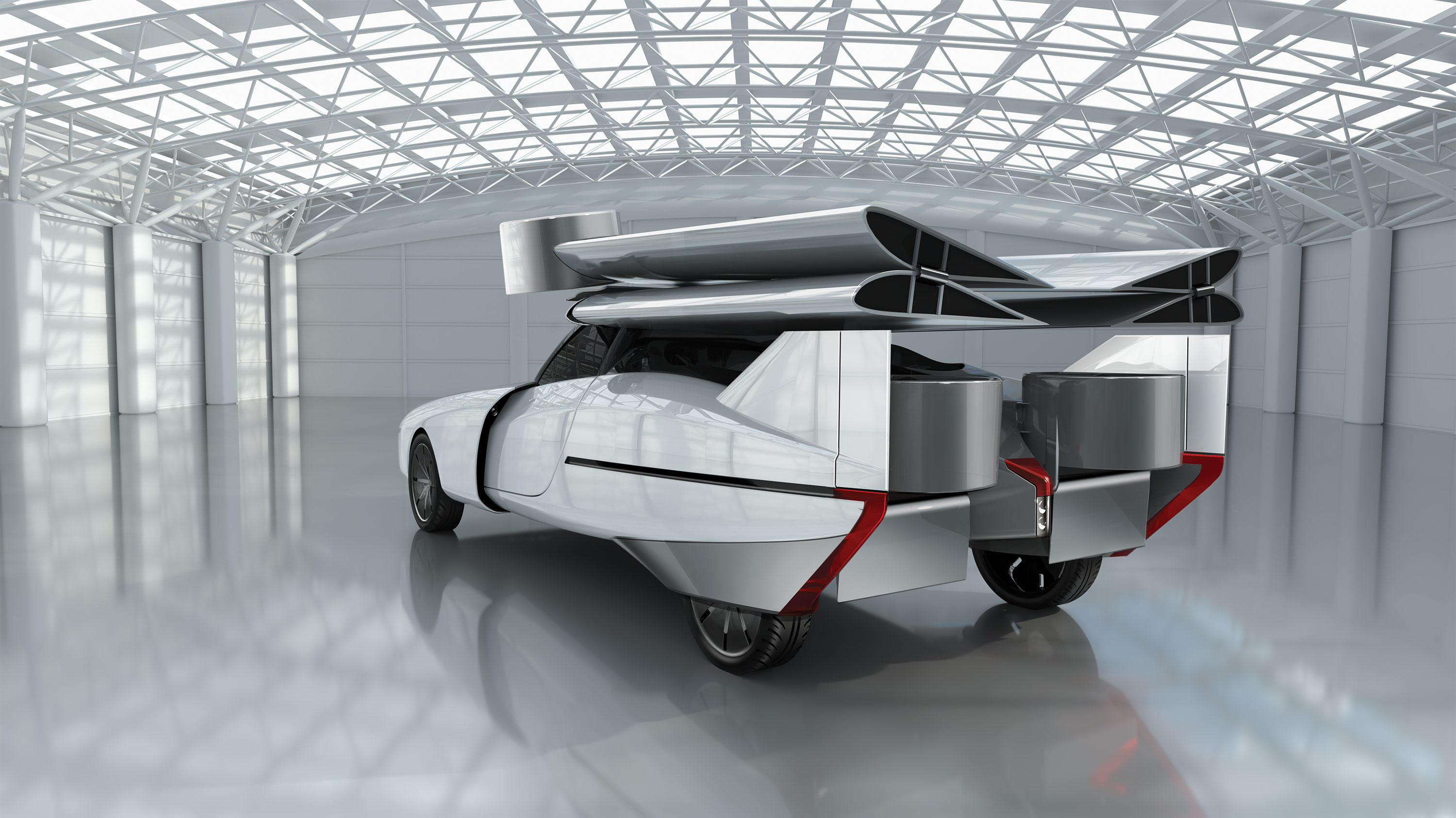 The wings of NFT's Aska flying car will fold up onto the roof when it's time to drive on the road.
