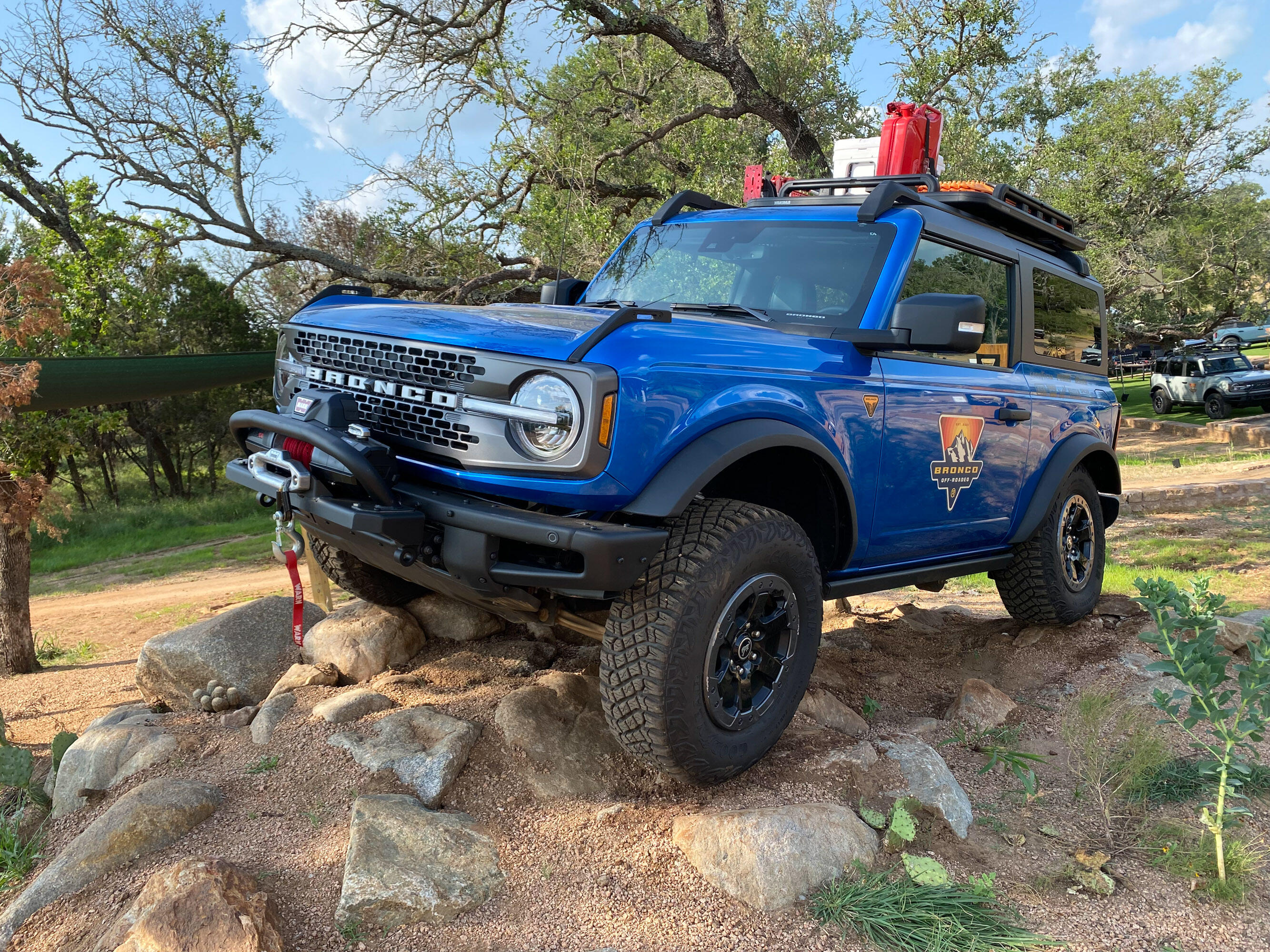 2021 Ford Bronco - Blue accessorized two-door Sasquatch model