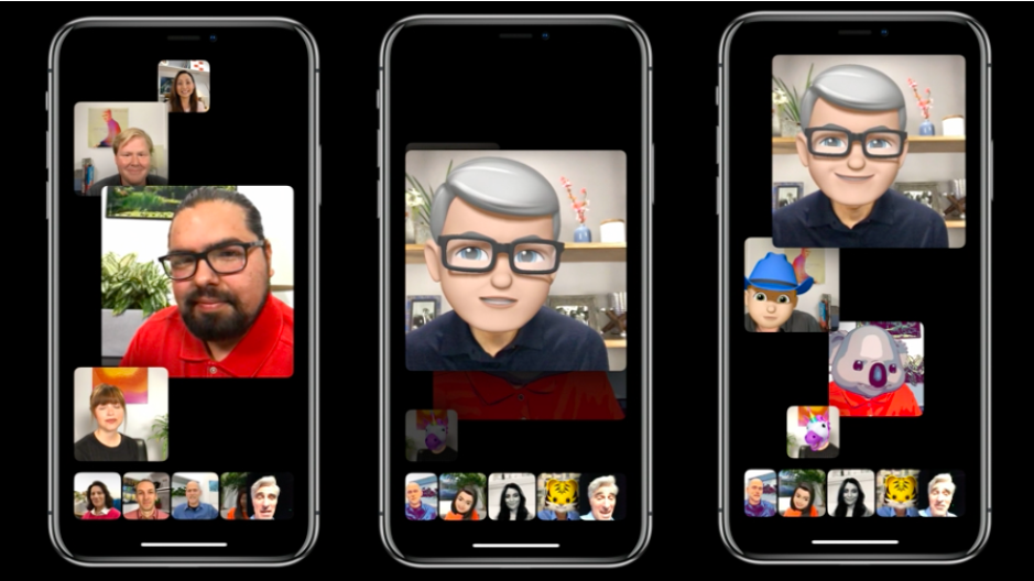 Apple CEO Tim Cook appears as a memoji -- an animoji AR self-portrait -- in a Group FaceTime chat at WWDC 2018.