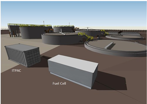 An artist's design of a Microsoft Data Plant where data center computers would be co-located with a source of biogas, such as a landfill or wastewater plant, to run fuel cells for on-site power.