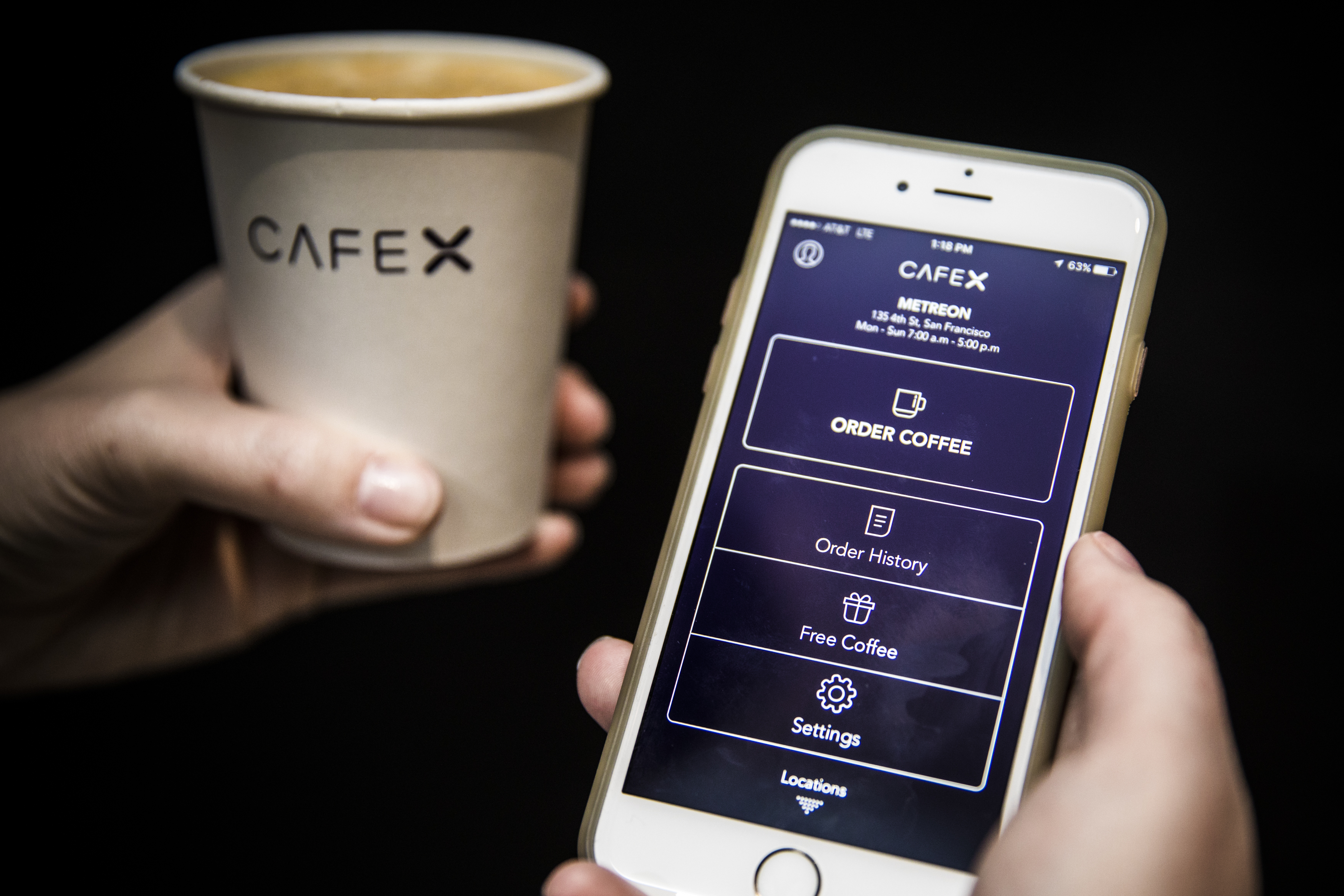 You order Cafe X coffee with an app or a tablet at the cafe.