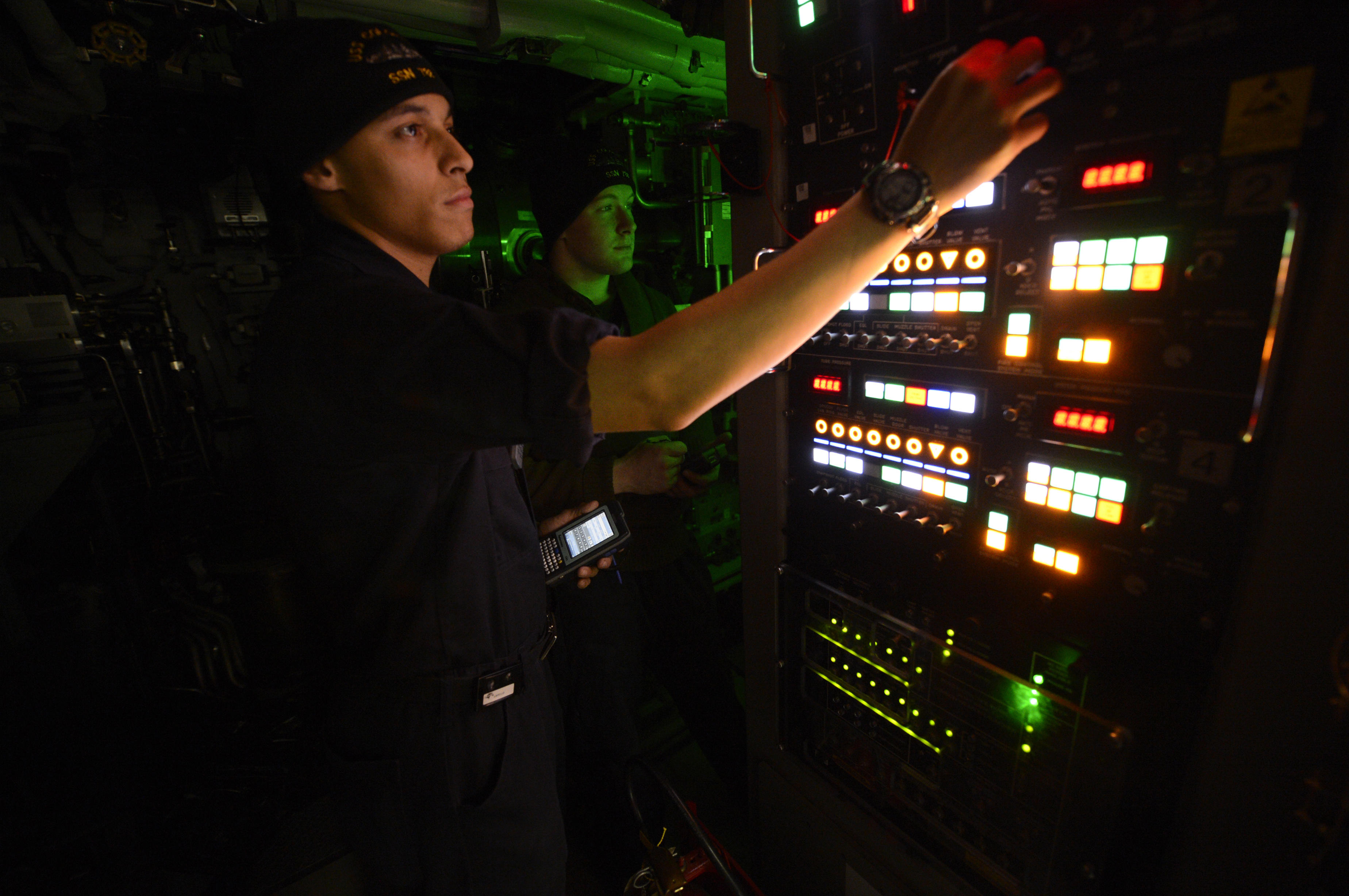 Weapons-launch console on the USS Colorado