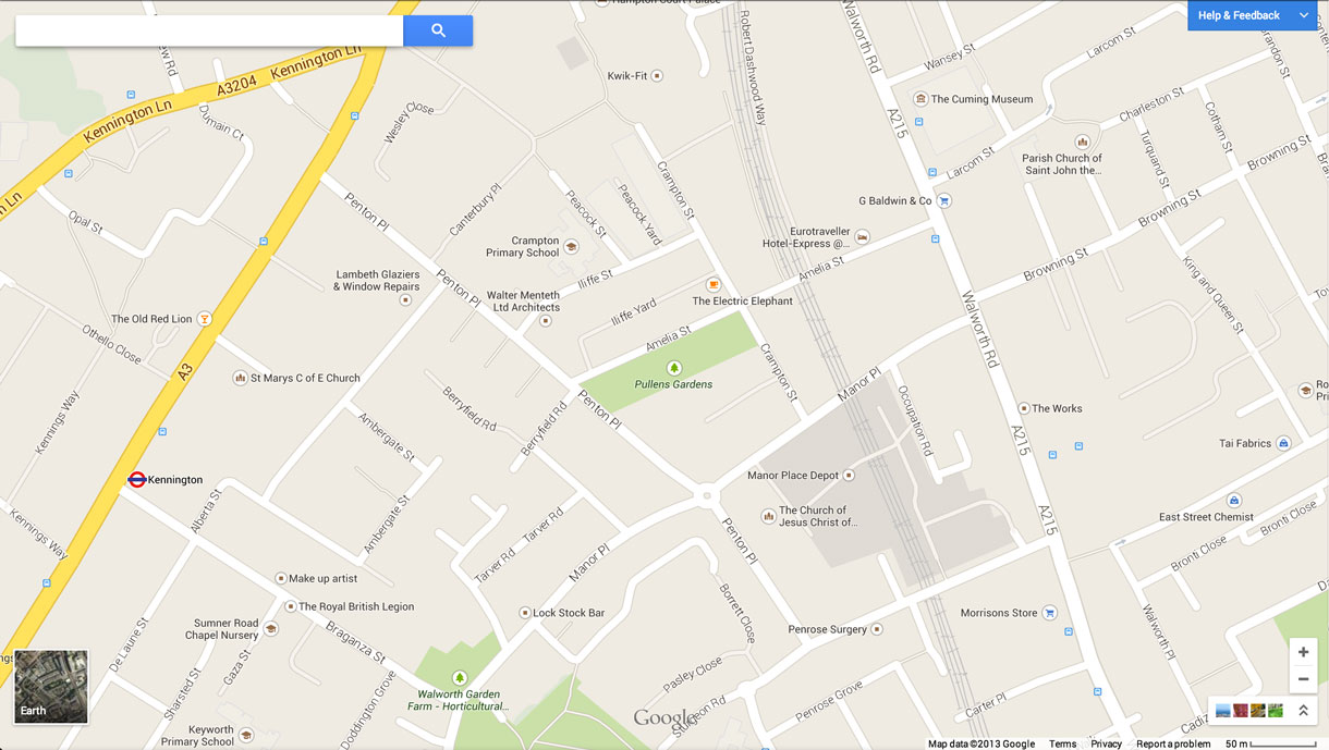 The new Google Maps interface, here showing the vicinity of Pullens Gardens, London, but without the gardens themselves indicated as a point of particular interest.