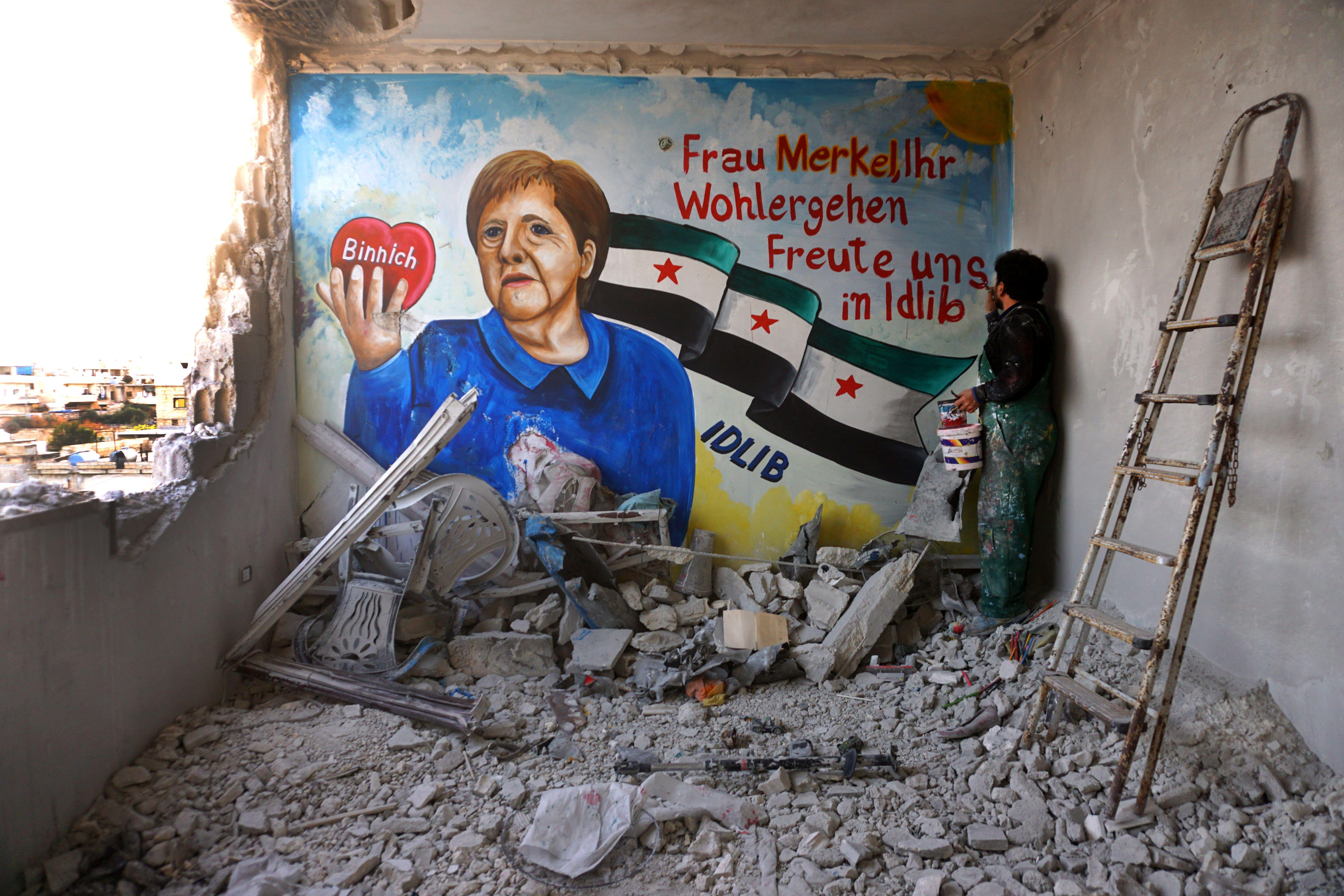 Well-wishing mural in Syria