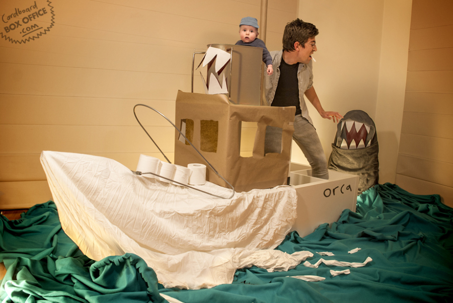 """Even Orson the baby is in shock that his parents could so cleverly recreate this scene from """"Jaws"""" using cardboard boxes and sheets."""
