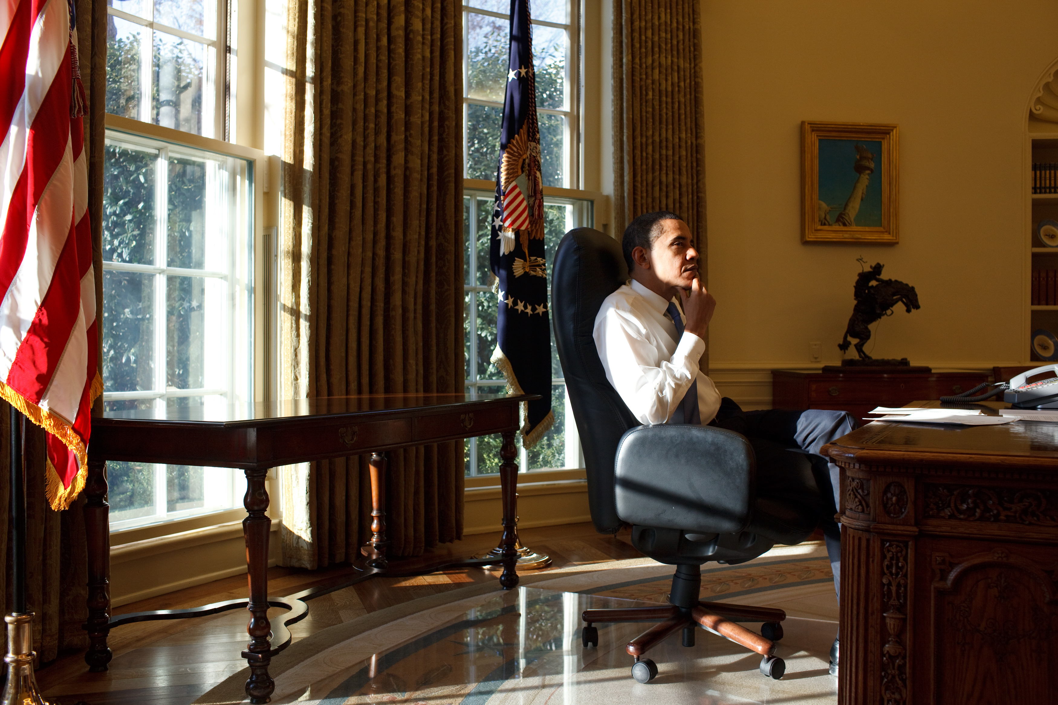 """President Obama, shown here during his first day in office, started by pledging an """"unprecedented"""" level of transparency. That didn't happen."""