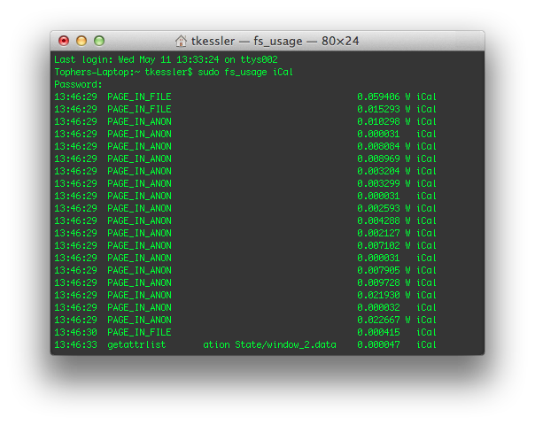 fs_usage running in the Terminal