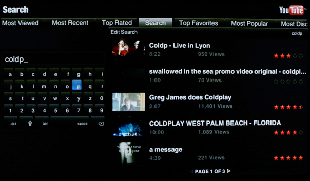 YouTube widget search feature