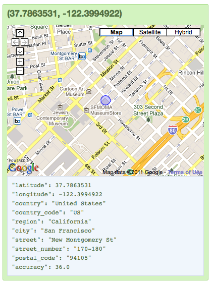 A wireless MAC address from a coffeeshop in San Francisco's Mission district was also spotted here through Google's geolocation database, before the company curbed this feature over the summer. (Click for full-sized image.)