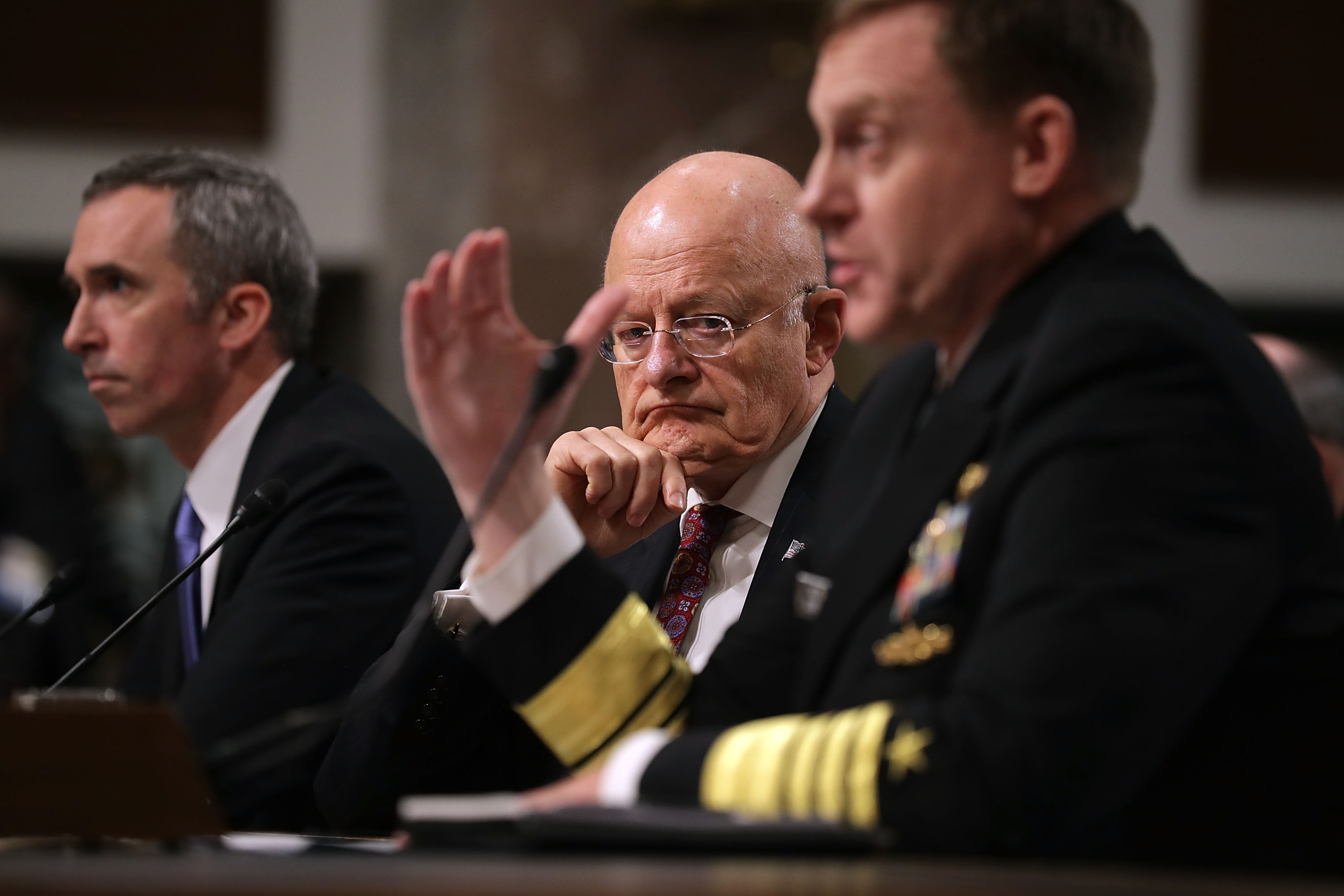 Left to right: Defense Undersecretary for Intelligence Marcell Lettre II, Director of National Intelligence James Clapper and United States Cyber Command and National Security Agency Director Admiral Michael Rogers testify before the Senate Armed Services Committee on Thursday.