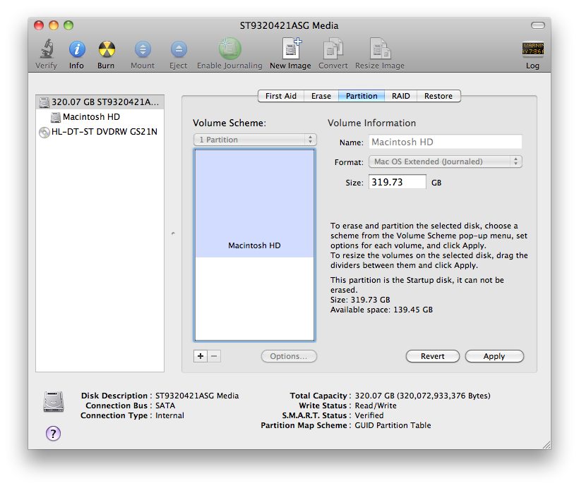 Disk utility partition tab in OS X