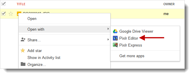 Open Google Drive image with Pixlr Editor