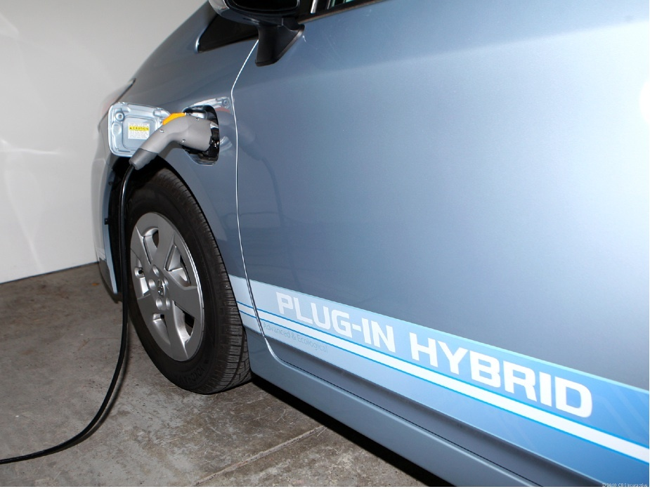 The Toyota Prius Plug-in Hybrid can be recharged using a 110-volt or 220-volt outlet.