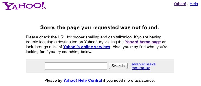 The error message displayed on Yahoo's Mail site.