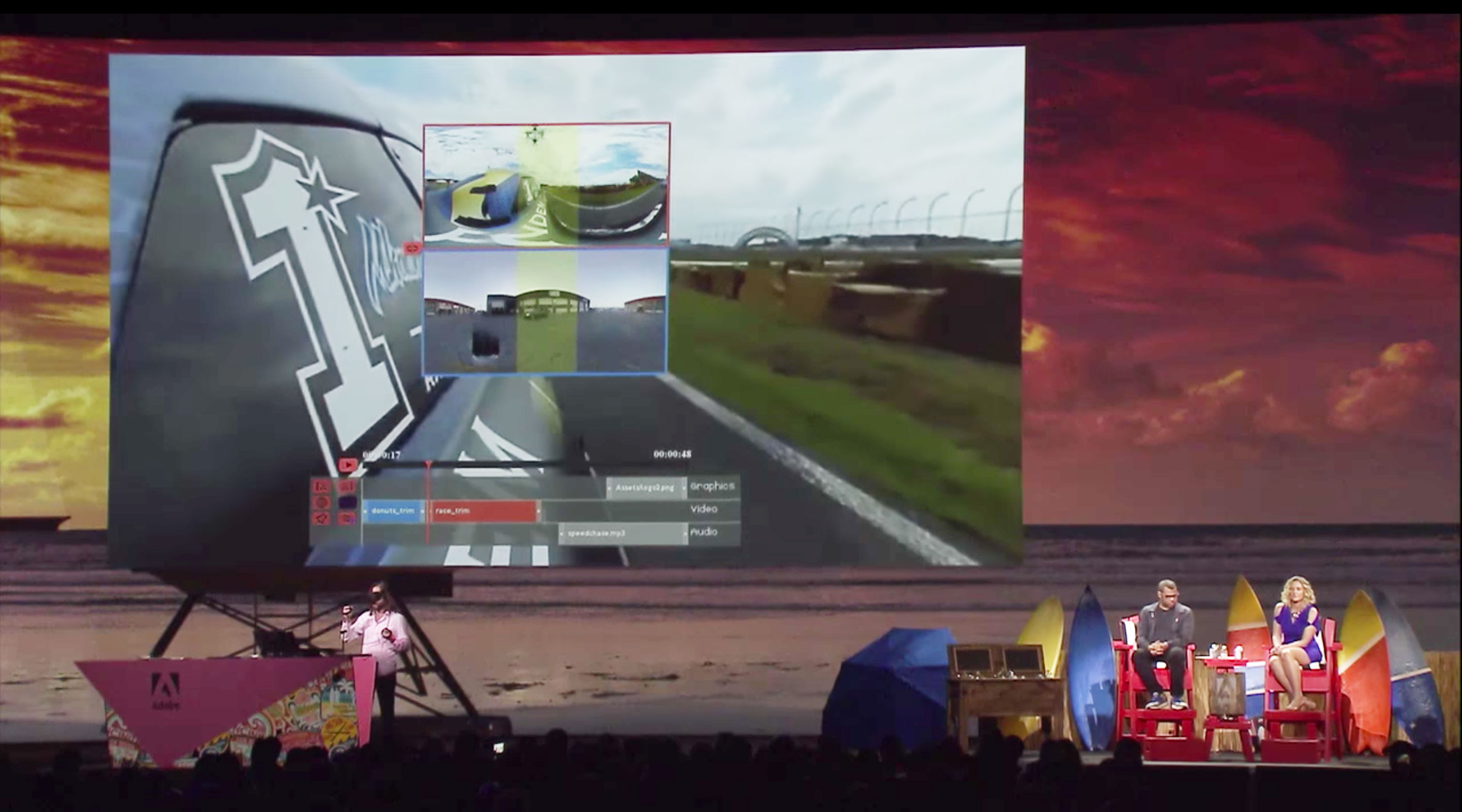 Adobe's Project Clover shows a timeline for editing VR video using a virtual reality headset.