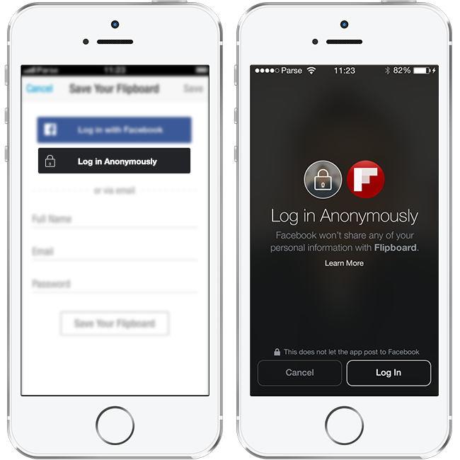 log in anonymously facebook button
