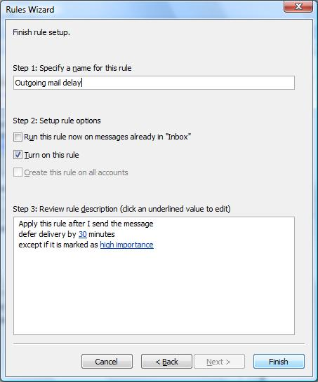 Microsoft Outlook 2007 outgoing-mail rule dialog box
