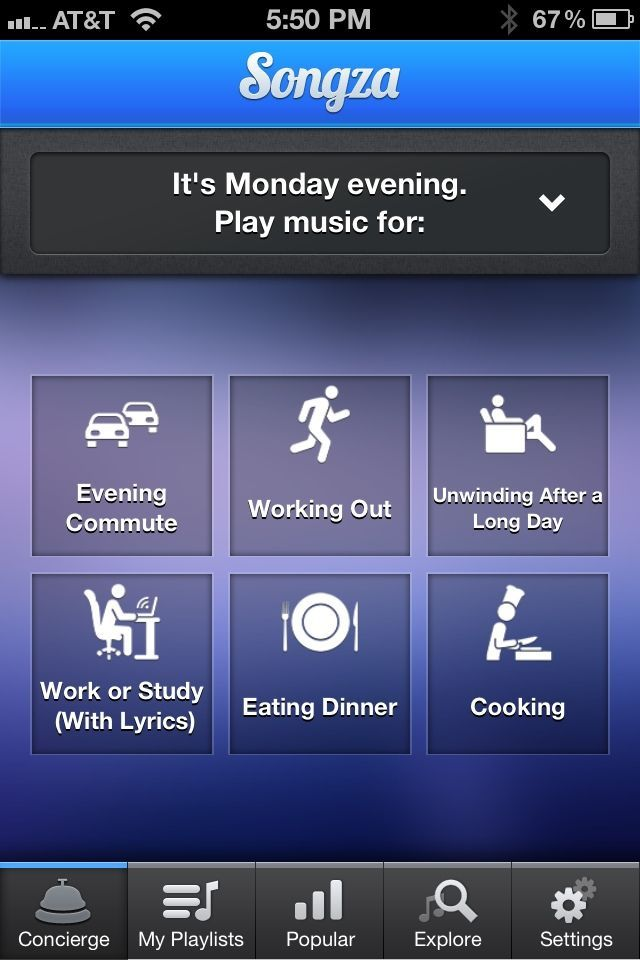 Songza guesses what you might be doing at any given time of day, then offers up suitable playlists.