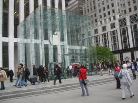 The Apple Store on Fifth Avenue in New York City is one of the company's flagship stores in terms of both customer traffic and architecture and design.