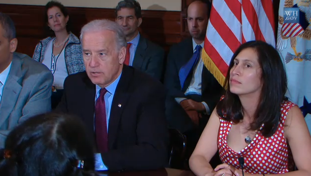 Victoria Espinel, the first Intellectual Property Enforcement Coordinator, with Vice President Joe Biden during an event last year