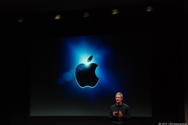 Tim Cook makes his first major presentation as the new CEO at Apple.