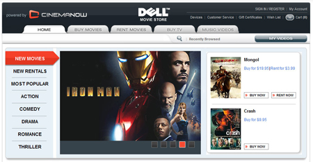Dell CinemaNow downloads