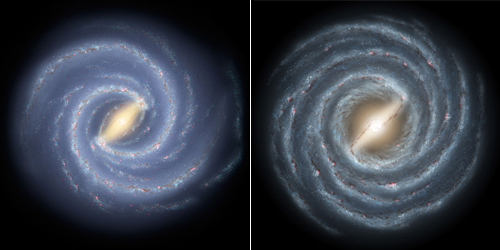 Milky Way galaxy old and new