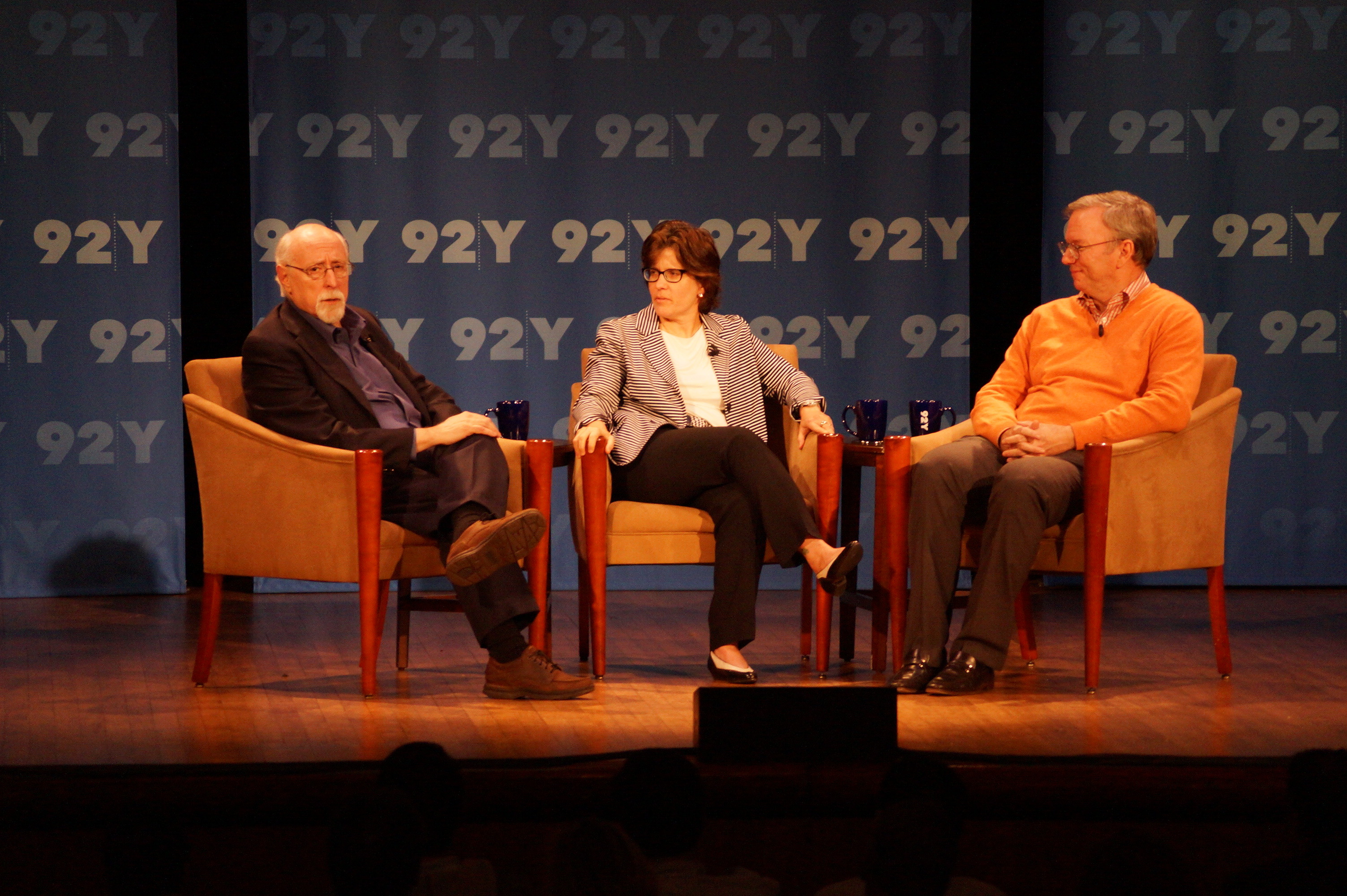 Walt Mossberg and Kara Swisher from AllThingsD interview Eric Schmidt, Google's executive chairman, at New York's 92nd Street Y.