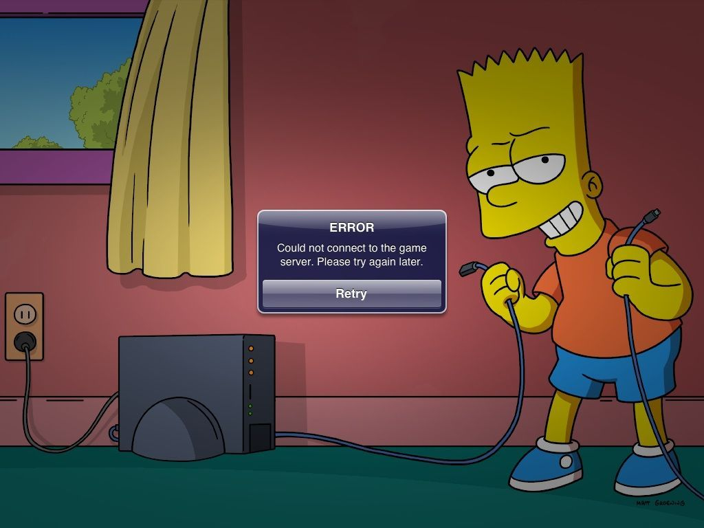 D'oh! No Internet connection means no game. That's worse than the time the EPA covered the whole town in a dome!