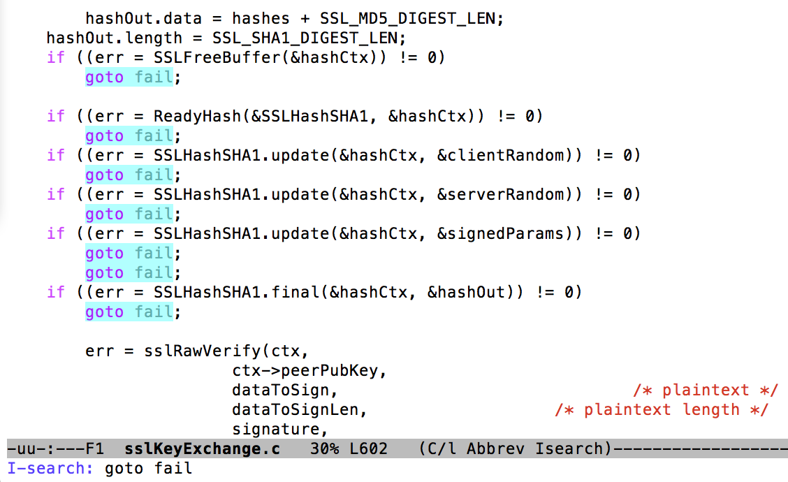 """An excerpt from Apple's published source code. Note the repeated """"goto fail"""" lines."""