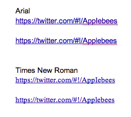 How the URL looks in different fonts.