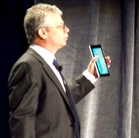 Intel executive VP David Perlmutter showed off a 7-inch 'reference design' tablet the company is showing to customers.
