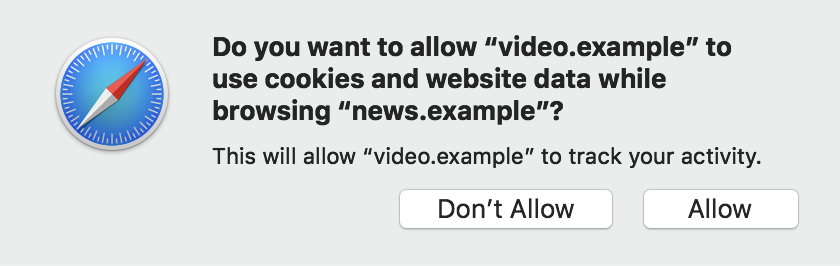 """A popup prompt says, """"Do you want to allow 'video.example' to use cookies and website data while browsing 'news.example'? This will allow 'video.example' to track your activity."""" The prompt offers the options """"Don't Allow"""" and """"Allow."""""""