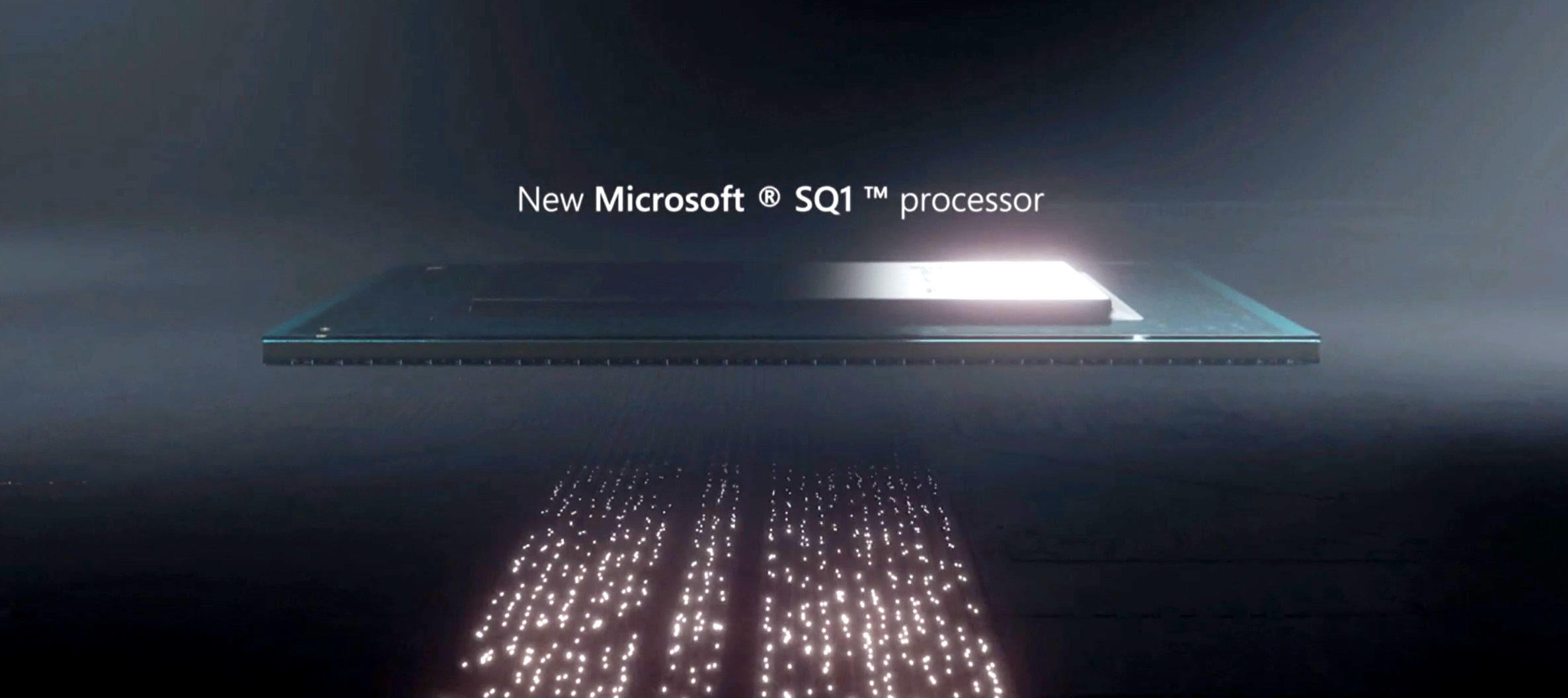 Microsoft touted its SQ1 processor at a Surface event.