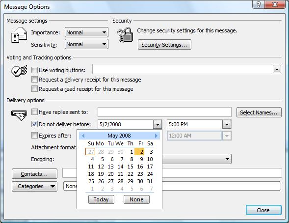 Microsoft Outlook 2007's Message Options dialog box