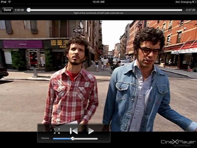 """""""We like to rock the party."""" CineXPlayer does something the native iPad Videos app cannot: play Xvid files."""
