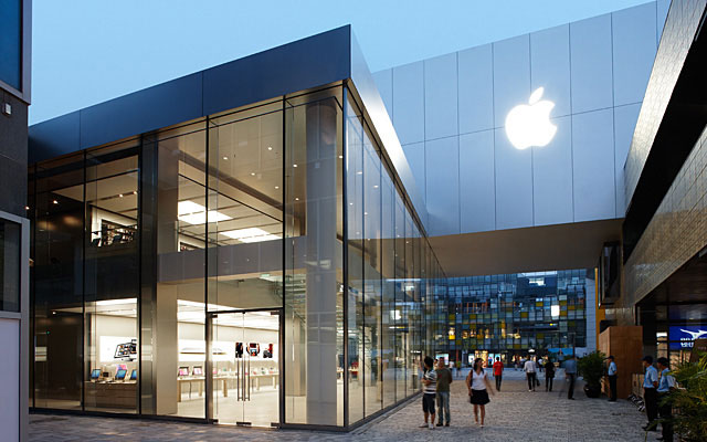 """Apple's Sanlitun store in Beijing, which was reportedly """"pelted"""" with eggs by angry iPhone 4S shoppers."""