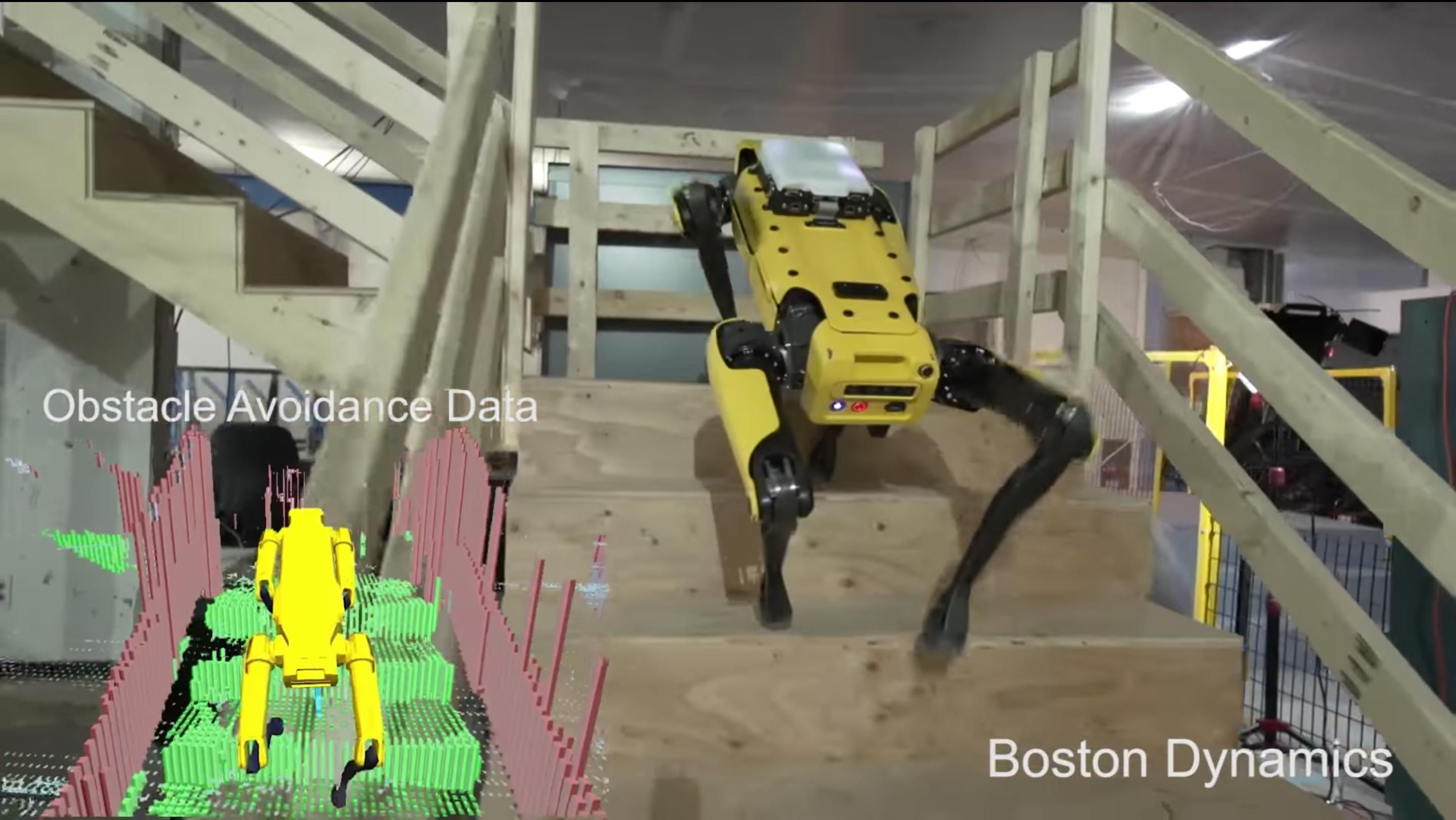 Boston Dynamics' SpotMini builds a 3D map of its surrounds and uses it to navigate on its own.