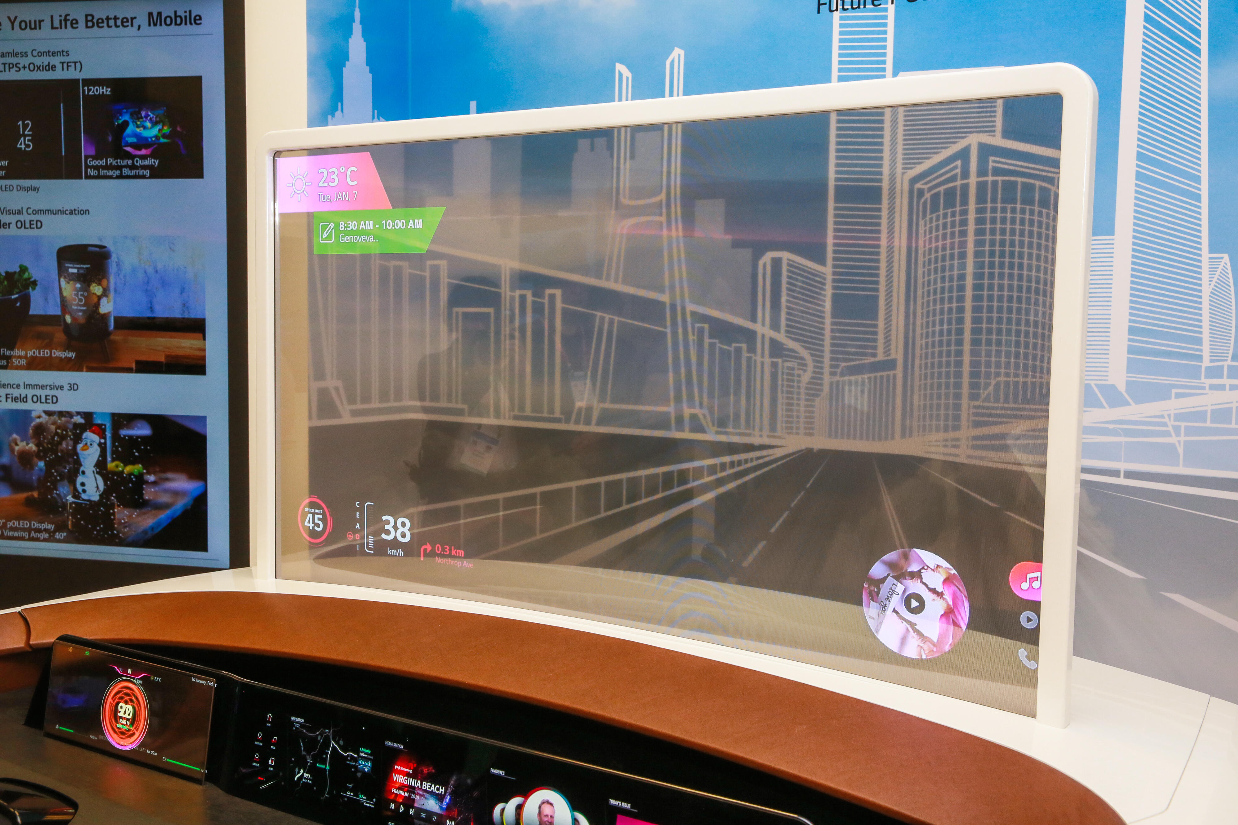 Transparent OLED windshield