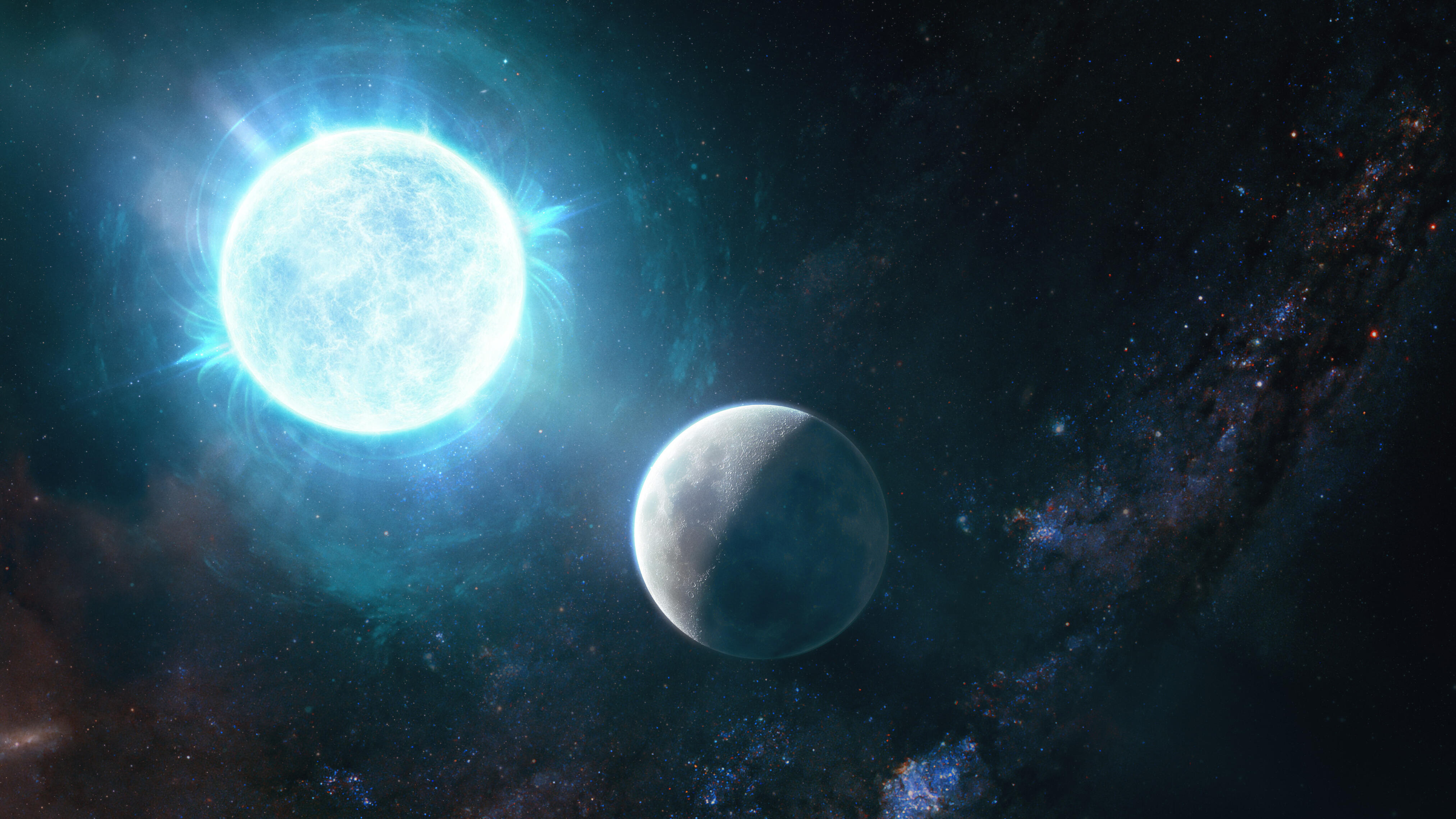 Illustration showing white dwarf star and Earth's moon side by side, for size comparison