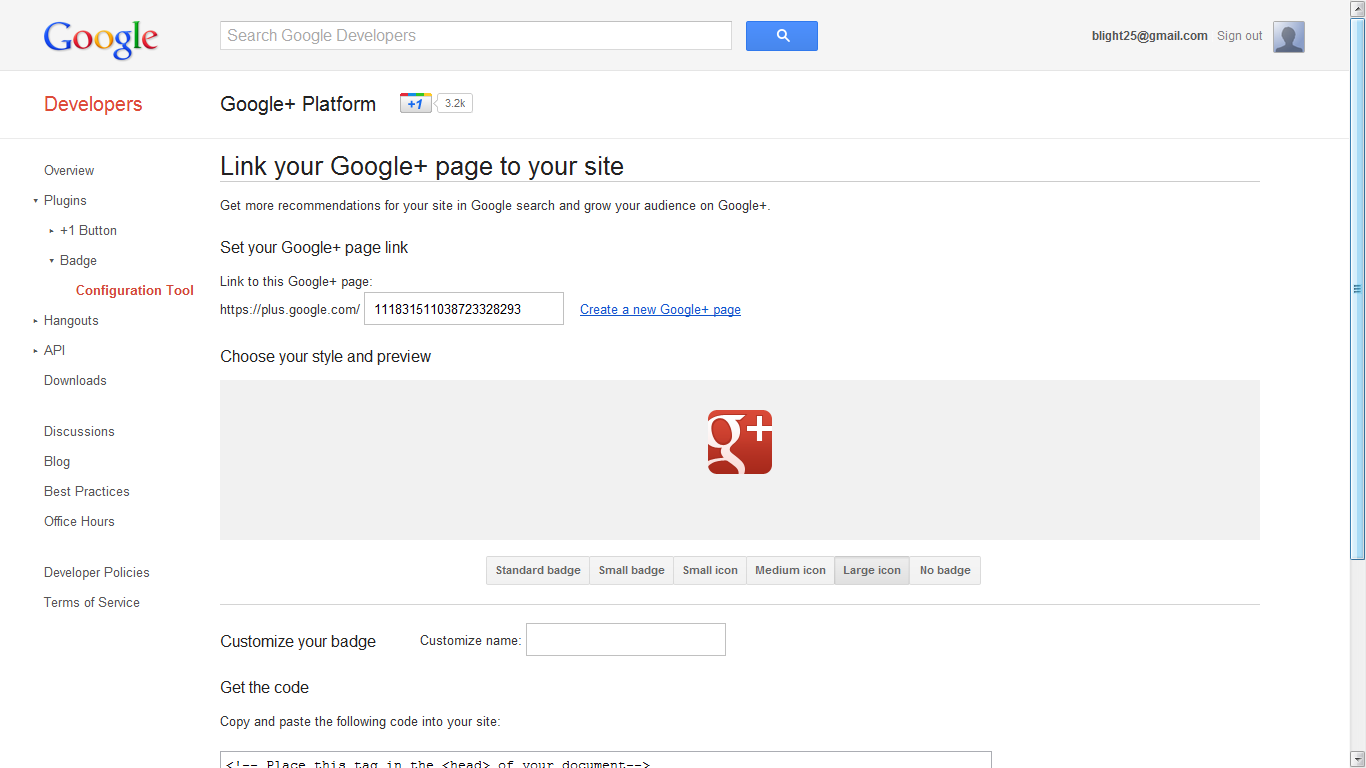 Step 7: Link site to G+.