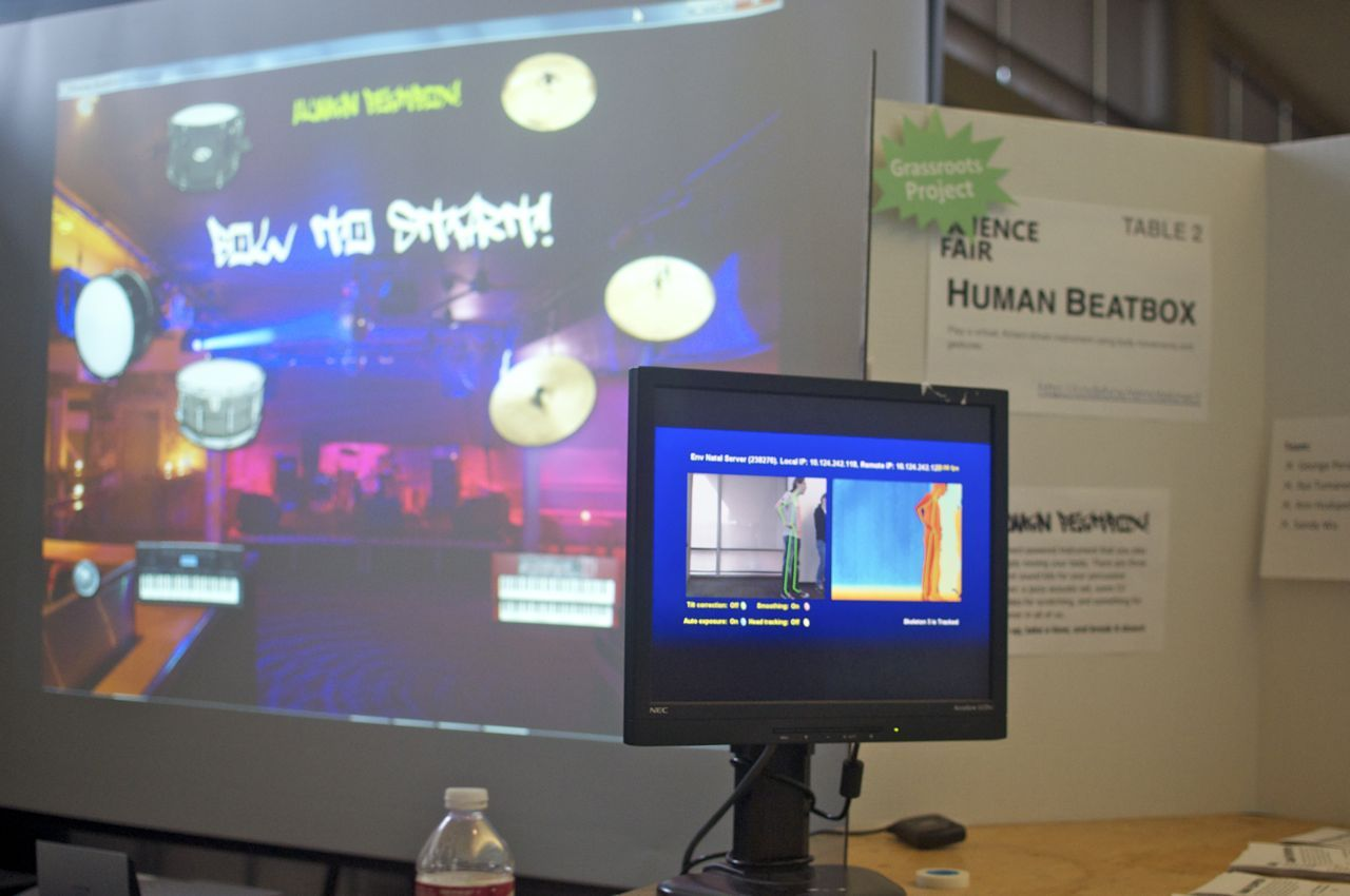 The Human Beatbox project makes use of Kinect to let users hit virtual instruments with their hands and feet.