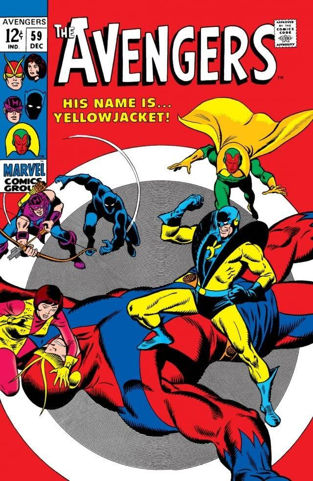 Yellowjacket appears on the Avengers 59 cover