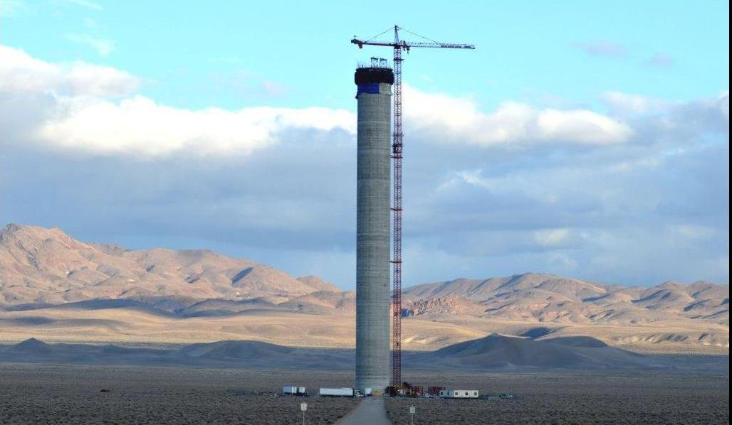 By the spring, this 540-foot tower will have a 100-foot receiver on top of it and 10,000 billboard size mirrors to produce electricity from the sun 10 to 15 hours a day.