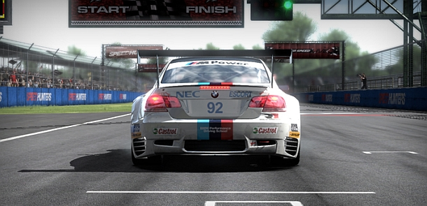 The BMW M3 GT racer lines up.