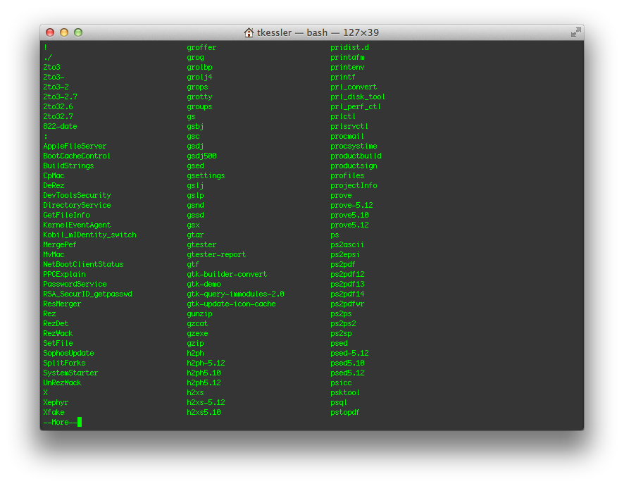 Command lists via Tab completion in OS X