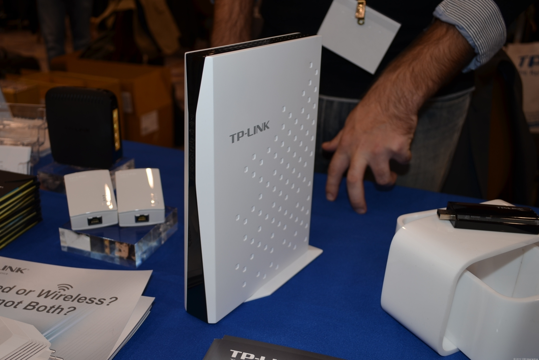 TP-Link showing off its first 802.11ac router, the TL-WDR7500, at CES 2013.