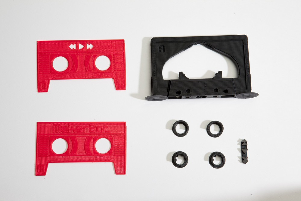 The printed MixTape cassette, available for free download via MakerBot's Thingiverse.